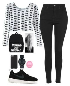 """""""Untitled #164"""" by barijeziberi ❤ liked on Polyvore featuring beauty, Topshop, NIKE, Case-Mate, Movado and River Island"""