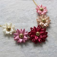 Pink Statement Necklace Pink Flower Necklace Blush and Gold Jewelry Burgundy and Gold Chunky Flower Necklaces Chunky Necklace