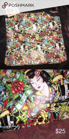 ✨ ED HARDY Travel Tote / Purse 🌟 NEW! This is truly a FUN, BEAUTIFUL Tote/Purse with SOOO MUCH Personality 🌟 BRAND NEW Ed Hardy tote by Christian Audigier- zipper pocket on the inside and zips close on top with handles. ⭐️ Ed Hardy Bags Totes