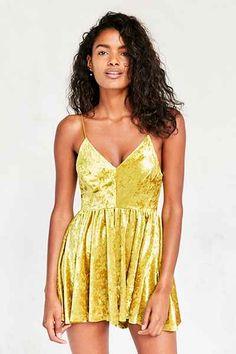 e7ca2427783 Kimchi Blue Vanessa Velvet Fit + Flare Romper - Urban Outfitters Pretty  Homecoming Dresses
