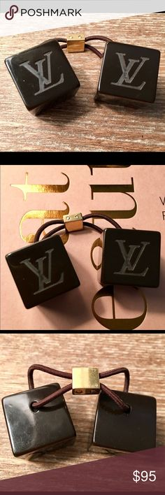 Authentic Vintage Louis Vuitton Hair Cubes! Dark brown LV hair cubes with gold fastener. EUC! Barely used. Purchased at the Louis Vuitton store in Portland. Accessories Hair Accessories