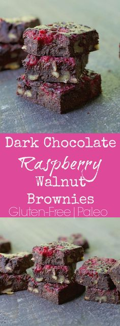 Dark chocolate raspberry walnut brownies
