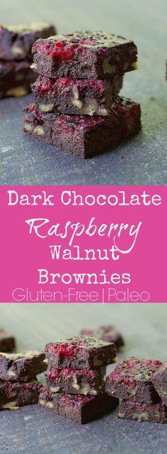 Dark chocolate raspberry walnut brownies
