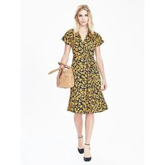 Banana Republic Womens Pleated Floral Wrap Dress (990 CNY) ❤ liked on Polyvore featuring dresses, preppy navy, banana republic dresses, navy blue dress, short sleeve wrap dress, navy dress and wrap dress