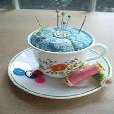 Turn your orphaned tea cups into a cool pin cushion with this neat idea from So Crafty lensmaster bejeezers, which can be found here: http://www.squidoo.com/making-a-teacup-pin-cushion.