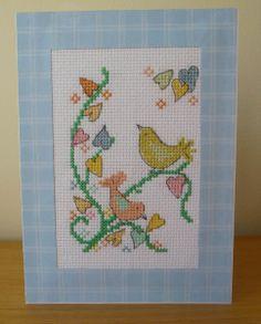 Cross stitched birds card