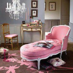 Pink chaise lounge french style pink chaise lounge gold chair desk bed room eclectic home decor ideas a eclectic revisited by bower hot pink chaise lounge Chaise Lounges, Lounge Couch, Lounge Chairs, Pink Furniture, French Furniture, Lounge Furniture, Country Furniture, Wooden Furniture, Furniture Decor