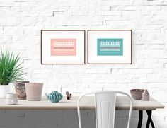 Set of two a4 Wall Art Prints Pink quartz Blue Minimal Home Decor Tribal Art Nature inspired Birds print Animal Aboriginal art print Ethnic de ColorsforNuna en Etsy