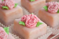 petit fours with fondant flowers look too pretty to eat!