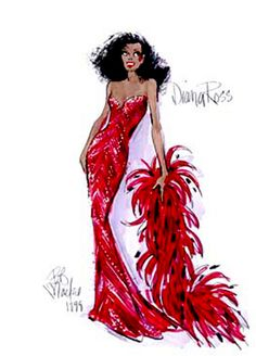 Diana Ross gown sketch by Bob Mackie. This was one of my favorite sketches from the Bob Mackie retrospective at FIT, years and years ago.