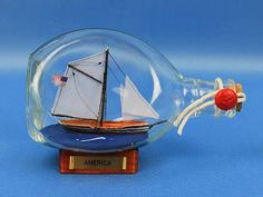 "America Sailboat in a Glass Bottle 7"""