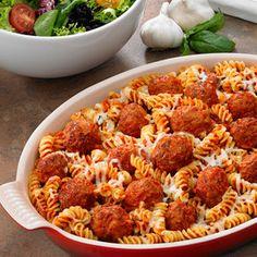 Tops Friendly Markets - Recipe: Cheesy Baked Pasta with Meatballs Rotini Pasta Recipes, Meatball Marinara, Meatball Casserole, Meatball Recipes, Recipes With Meatballs, Pasta Bake, Fun Cooking, How To Cook Pasta, Quick Meals