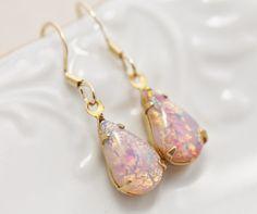 Vintage Fire Opal Earrings, Petite Vintage Glass Harlequin Opal Earrings, Teardrop. Gold Filled, Birthstone, Shabby Chic