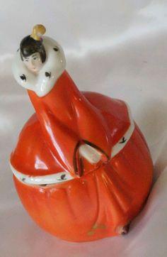 Vintage Art Deco Lady Vanity Jar/Powder Bowl