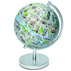 Cute! London map on a globe, I think this would be fun to have and a great way to display mementos from a trip!