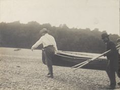 President Theodore Roosevelt with a canoe on September 11, 1905.