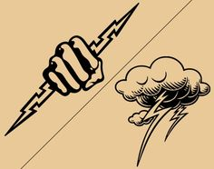 Cloud and hand lightning bolt tattoo designs