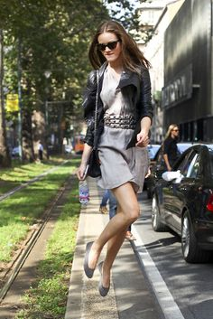 Dress, black jacket and flats.  Love this look to bits.
