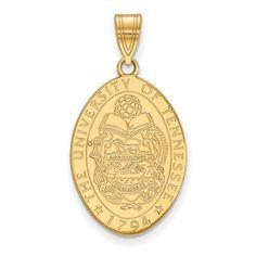 Sterling Silver w/GP LogoArt University of Tennessee Medium Crest Pendant