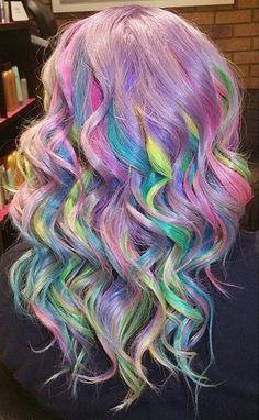 Pastel Surprise // Sand Art Rainbow Hair Color Ideas