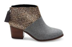 GREY FELT SHINE BOUCLE WOMEN'S LEILA BOOTIES..Get it: www.teelieturner.com  Our version of the ankle bootie starts with a stacked mid-heel and zips up the back. Designed in felt with a stunning silver ankle, you'll wear this pair day and night. #teelieturner #boots #TOMS #teelieturnershoppingnetwork