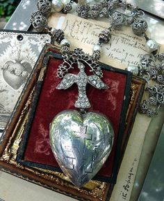 SALE Ex Voto Sacred Heart Necklace Lovely by RusticGypsyCreations