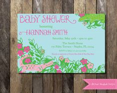 PRINTABLE Lilly Pulitzer Baby Shower Invitation- Lilly Pulitzer Invitation Digital Printable File Later Gator Invite Lilly Pulitzer Inspired