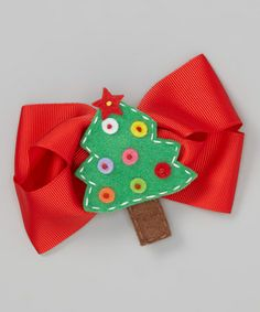 Take a look at this Red Christmas Tree Bow Clip by So Girly & Twirly on #zulily today!