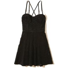 Hollister Lace Skater Dress (870 ZAR) ❤ liked on Polyvore featuring dresses, black, smocked dresses, lace dress, sweetheart bustier, sweetheart skater dress and bustier dress