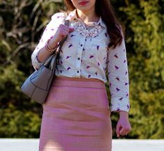 Happy Medley: Neutrals and pastels, pink skirt, printed blouse and statement necklace