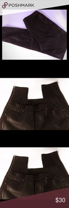 """Zara Black Faux Leather Leggings Zipper Ankle Perfect pair of Classic Faux leather leggings. Size S. Inseam 28."""" Gold zippers at the ankles. No zipper or button closure at waist. Excellent condition. Like new. Zara Pants Leggings"""