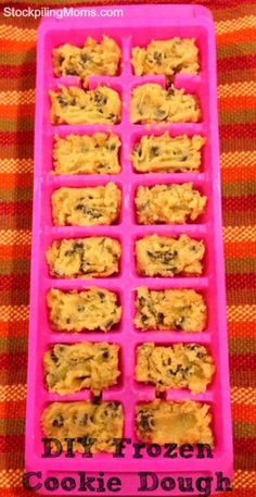 40 Clever and Creative Ways to Use an Ice Cube Tray. Frozen cookie dough is so convenient but it's not very cheap. Making your own homemade cookies is a lot less expensive and allows you to know exactly what ingredients are in your cookies. You can make your own by freezing your cookie dough in ice cube trays. The trays offer the perfect size and once frozen, you can store your cookies in a freezer bag for months. Just pop out however many you need and bake.