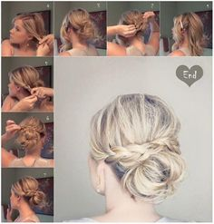 Easy step by step messy bun with plaits