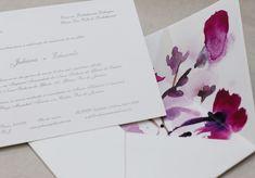 Convite de casamento em aquarela com envelope ilustrado - Eilá Nigri Designe