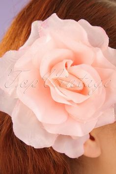 50s Sparkly Rose Hair Clip in Vintage Pink