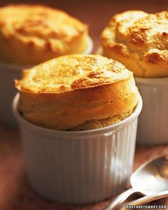 Goat Cheese Souffles   A creamy, flavorful aged goat-cheese sauce enriched with egg yolks forms the base of this vegetarian souffle. Beaten egg whites are gently folded into the mixture and the souffles are baked until golden and fluffy.