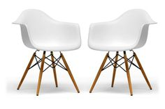 Pascal White Plastic Chair Set of Two | Wholesale Interiors
