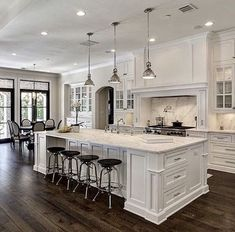 White Kitchen Ideas - White never ever fails to give a kitchen style a classic look. These trendy kitchen areas, consisting of every little thing from white kitchen cabinets to smooth white . Off White Kitchen Cabinets, Off White Kitchens, Kitchen Cabinet Design, Interior Design Kitchen, Home Design, White Kitchen Designs, White Kitchens Ideas, Kitchen Counters, All White Kitchen