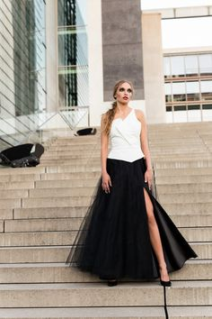 S083 black maxi skirt with a slit