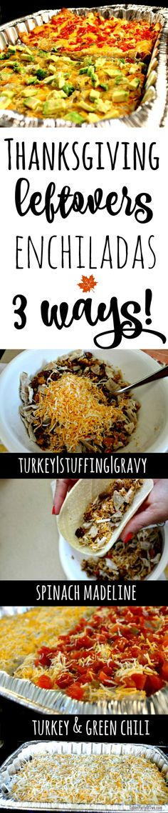Here are three amazing ways to make easy and delicious enchiladas from your holiday leftovers! Feed a crowd and they'll come back for more! The three recipes include Turkey/Green Chili Enchiladas, Turkey/Stuffing/Gravy Enchiladas, and Spinach Madeli Thanksgiving Leftovers, Thanksgiving Recipes, Holiday Recipes, Christmas Recipes, Turkey Recipes, Mexican Food Recipes, Healthy Recipes, Mexican Dishes, Enchiladas