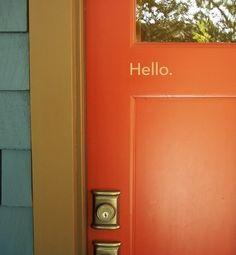 Hello, Front Door Decal