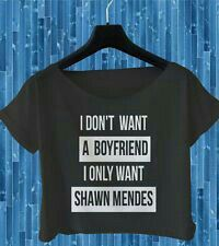 Only Want Shawn Mendes Crop Top Magcon Boys T Shirt Women Black White All Size wonderful, i love the image. Shawn Mendes Clothes, Shawn Mendes T Shirt, Shawn Mendes Concert, Shwan Mendes, Mendes Army, Boys T Shirts, Cool Shirts, Outfits For Teens, Cool Outfits