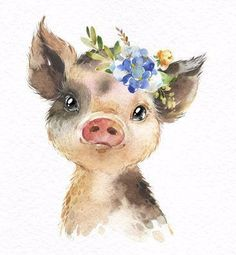 Farm Highland Cow Blackhead Sheep Piglet Watercolor little Etsy Watercolor Clipart, Watercolor Animals, Watercolor Art, Baby Animal Drawings, Art Mignon, Pig Art, Animal Paintings, Cute Art, Cute Animals