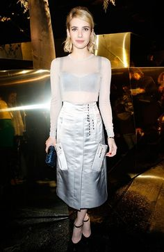On Emma Roberts wearing an H&M Conscious Exclusive top and skirt.