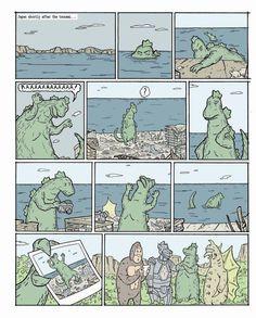 Godzilla makes the best of a bad situation ~~ Artwork by Doug Paszkiewicz.