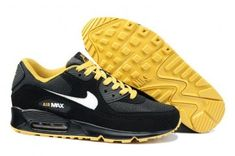 low priced 5d0b7 a4c05 Nike Air Max 90 Mens Black White-Gold Shoes Nike Shoes For Sale,