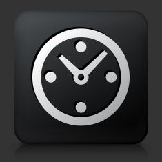 Black Square Button with Clock Icon vector art illustration