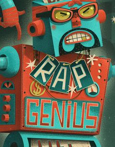 Editorial illustrations on Rap Genius, an online rap translation service, for Wired Magazine UK. By Steve Simpson.