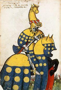Jean de Melun, Grand Armorial équestre de la Toison d'Or, Flandres, 1430-1461.