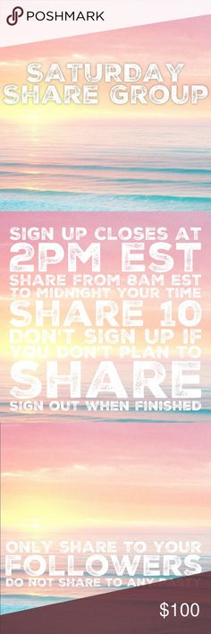"""CLOSED💞1/28 Saturday Share Group Sign up closes at 2pm est💞Tag your name to sign up💞Write """"new"""" if you're new💞Share 10 for sale items from everyone who signs up💞No sharing until 8am est. Share by midnight your time💞Share to your followers, NOT to parties💞Be Posh compliant or you may be skipped💞Mark your spot with ***and first 3 letters of where you left off💞Sign out when done💞 Be fair and do your part or you will be blocked💞Please only ask questions in the Q&A listing under…"""